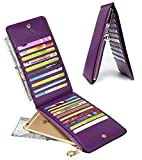 YALUXE Leather Wallet for Women Women's RFID Blocking Genuine Leather Multi Card Organizer Wallet with Zipper Pocket RFID Blocking Purple