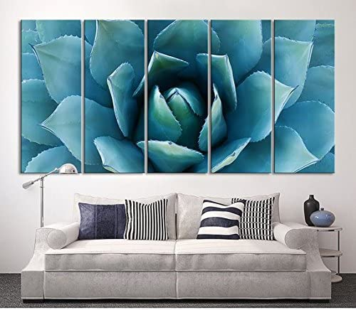 Amazon Com Large Wall Art Blue Agave Canvas Prints Agave Flower Large Art Canvas Printing Extra Large Canvas Wall Art Print 60x32 Inch Total Posters Prints