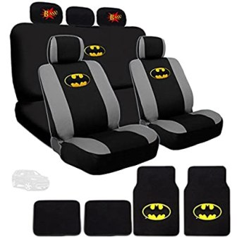 Ultimate Batman Car Seat Covers and Floor Mats Bundled with Classic BAM Logo Headrest Covers Gift Set
