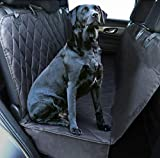 Plush Paws Ultra-Luxury Pet Seat Cover, Dog Car Hammock Protector Bench Rear Waterproof 100% Non-Slip Backing Anchors Side Flaps Machine Wash Black 2 Bonus Harness & 2 Seat Belts (Regular, Black)
