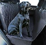 Plush Paws Ultra-Luxury Pet Seat Cover, Dog Car Hammock Protector Bench Rear Waterproof 100% Non-Slip Backing Anchors Side Flaps Machine Wash Black 2 Bonus Harness & 2 Seat Belts (Regular, Black)