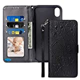 JanCalm for iPhone XR Case 2019 New (Elephant/Flowers) Pattern Premium PU Leather Wallet [Card/Cash Slots][Detachable Wrist Strap] Stand Flip Cover for Apple iPhone XR + Magnetic Closure (Black)