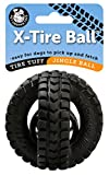Pet Qwerks Jingle X-Tire Ball Dog Toy - Rugged Tires with a Jingle Ball in the Center, Interactive Toys that Make Noise, Treat Toys for Boredom | Best for LIGHT & MODERATE CHEWERS, Small Dogs & Puppies
