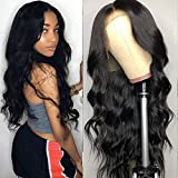 Tuneful Unprocessed Virgin Brazilian Body Wave Human Hair Lace Front Wigs with Baby Hair 130% Density Pre Plucked Natural Hairline wigs for Black Women Natural Color 18 inch
