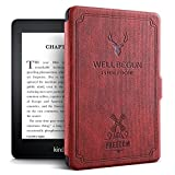 ProElite Deer Smart Flip case Cover for All Amazon Kindle 6' 10th Generation 2019 [Wine Red]
