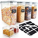 Cereal Food Storage Container Set of 4, Airtight Containers with 4 Sided Locking Lids - BPA Free Plastic Dispenser Keepers (135.2 oz) - Free Chalkboard Labels, Marker and 2 Spice Storage Tins