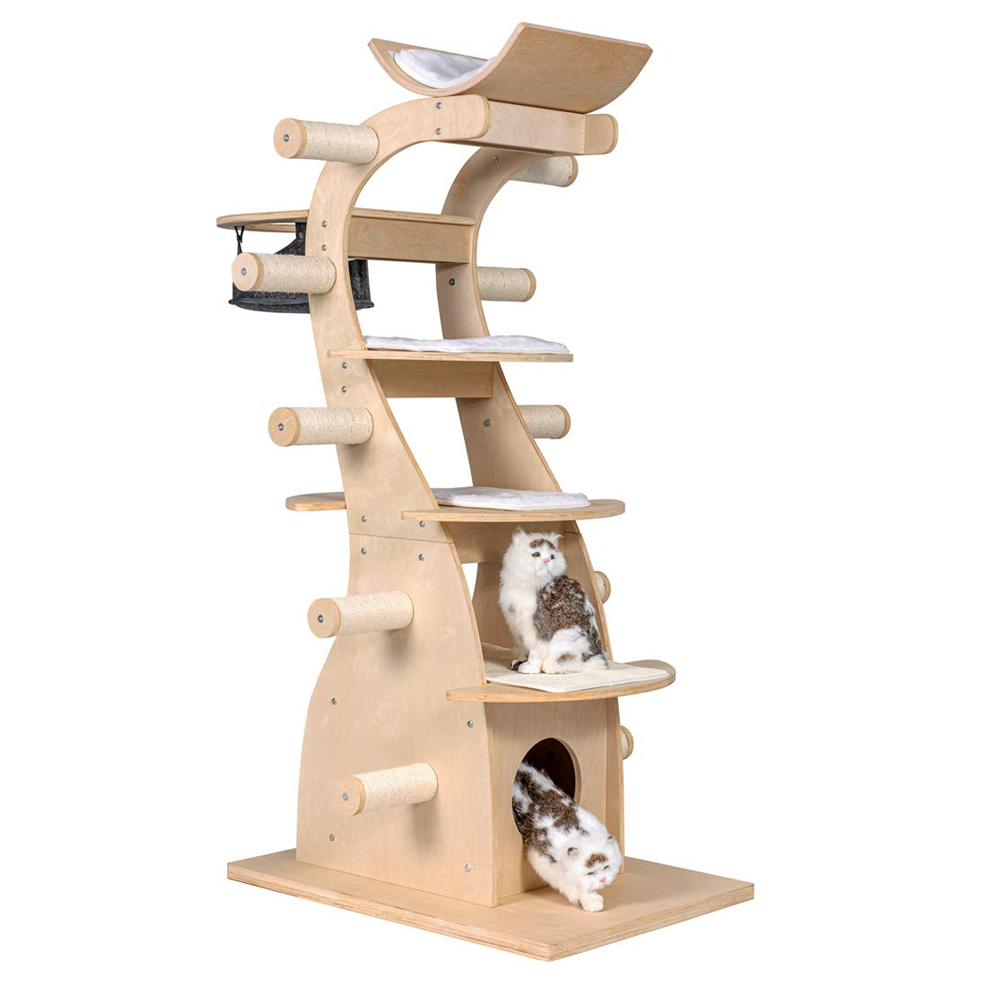 Good Life Usa Deluxe Modern Design Cat Tree House With Scratching Post Tower Deluxe Solid Wood Furniture Fur Kiddos