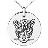 Tioneer Stainless Steel Mayan Jaguar Rune Symbol Small Medallion Circle Charm Pendant Necklace