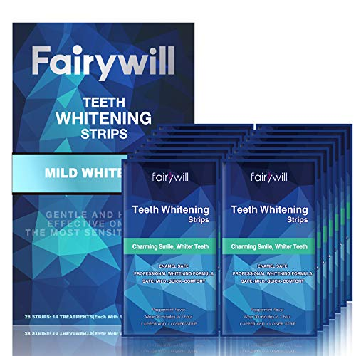 Fairywill Professional Teeth Whitening Strips - Reduced Sensitivity Formula, Gentle and Safe for Enamel 3D Whitestrips Pack of 28 Strips
