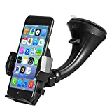 Windshield Car Mount Holder - Getron Universal Windshield Dashboard Cell Phone Cradle with One Click Release for iPhone Xs MAX XR X 8 SE Samsung Galaxy S9 Plus S8 Note 9 and Most Smartphones - Black