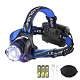 LED Rechargeable Headlamp LBJD Super Bright Headlight with 3 Rechargeable Batteries for long working time, USB Cable Charge, Flashlight, Perfect for Night Riding, Hiking, Fishing, Camping
