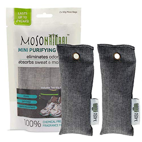 MOSO NATURAL Mini Air Purifying Bag Shoe Deodorizer. Odor Eliminator for Gym Bags, Sneakers and Sports Gear Charcoal Color 2 pack