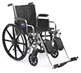 Medline Excel 2000 Wheelchair, 20' Wide Seat, Desk-Length Arms, Elevating Footrests, Chrome Frame