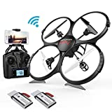 Drone DBPOWER U818A Discovery FPV WiFi Drones with Camera for Beginners/Kids/Teens,Quadcopter UAV with Altitude Hold/Headless Mode /3D Flips& 2 Batteries, Big Size