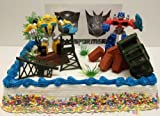 Transformers 10 Piece Birthday Cake Topper Set Featuring Bumblebee and Optimus Prime Figures with Themed Decorative Accessories - Cake Topper Set Includes All Items Pictured
