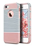 ULAK iPhone 5S Case, iPhone 5 Case,iPhone SE Case, Slim Fit Protection Case Hybrid Scratch Resistant Hard Back Cover Shock Absorbent TPU Bumper Protective Case (Rose Gold Minimal Stripes)