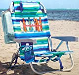 Tommy Bahama Backpack Chair - Insulated Cooler Pouch - 5 Positions (Ocean Stripes)