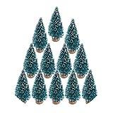 Small DIY Christmas Tree Fake Pine Tree Mini Sisal Bottle Brush Christmas Tree Santa Snow Frost