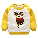 JELEUON Baby Boys Girls Toddler Lovely Christmas Lambswool Thick Winter Warm Sweatshirt Pullover (5-6 Years, Yellow)