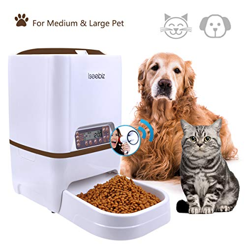 Automatic Pet Feeder, 6L Dogs Cats Food Dispenser with Voice Record Remind, Time Programmable, Portion Control, IR Detect, 4 Meals a Day for (Medium & Large) Dogs Cats