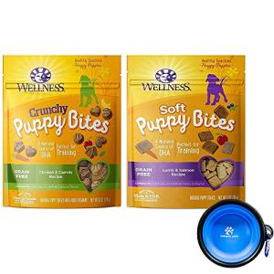 Wellness Puppy Bites for Dogs Variety Bundle 2 Pack (Lamb Salmon & Chicken Carrots)