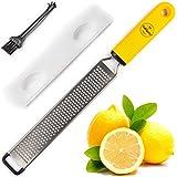 BelleGuppy Lemon Zester & Cheese Grater Stainless S Antibacterial Cover Blade, Ergonomic Non-Slip Silicone Handle Professional Zesting Tool BONUS Cleaning Brush