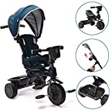 ChromeWheels 4-in-1 Kids' Trike & Stroller, Adjustable Height Push Ride Tricycle for 9 Months - 5 Year Old, Blue