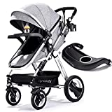 Belecoo Baby Stroller for Newborn and Toddler - Convertible Bassinet Stroller Compact Single Baby Carriage Toddler Seat Stroller Luxury Stroller with Cup Holder (Linen Khaki)