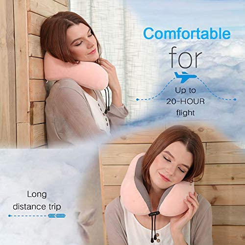 Travel Pillow, Best Memory Foam Neck Pillow Head Support Soft Pillow for Sleeping Rest, Airplane Car & Home Use (Pink)