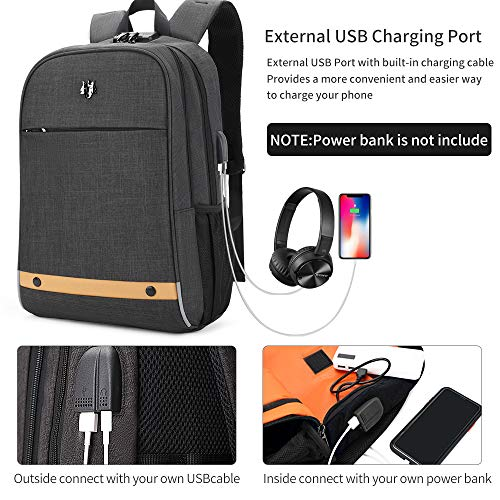 51DPQruYvJL - Hoteon Golden Wolf Laptop Backpack with Rain Cover, Anti-Theft Locker, fits up to 15.6 inches Laptop, USB Port, Earphone Port, Water Resistant, Business and Travel Bag for Men & Women (Dark Grey)