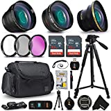 """Deluxe 28 Piece Accessory Kit for Canon EOS Rebel T6i T6S T5i T5 T4i T3i T3 T2i 750D 70D 60D 60Da 700D 650D 600D 550D 1200D 1100D 100D SL1 EOS M3 M2 7D Mark II 5D Mark II EOS 5D Mark III XS XSi XT XTi Kiss X50 kiss X70 Kiss X7i Kiss X6i Kiss X5 kiss X4 DSLR Cameras Includes: 58mm Super High Definition FishEye Lens + 58mm High Definition 2X Telephoto Lens + 58mm High Definition Wide Angle Lens + 16GB High Speed Memory Card + 8GB High Speed Memory Card + Professional Full Size 72"""" Inch Tripod + Large Well Padded Case + Universal Camera Remote Control + 58mm 3 Piece Glass Filter Set (UV Filter + CPL Filter + ND Filter) + Universal Card Reader + Flexible Mini Table Tripod + Memory Card Case Holder + Screen Protectors + Mini Blower + Cleaning Pen + 58mm Lens Cap + Lens Cap Holder + Deluxe Cleaning Kit + Ultra Fine HeroFiber Cleaning Cloth"""