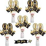 Blulu 90th Birthday Party Decoration Set Golden Birthday Party Centerpiece Sticks Glitter Table Toppers Party Supplies, 24 Pack (90th Birthday)
