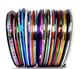 Beaute Galleria 30 Mixed Colors Rolls Striping Tapes Line Adhesive Sticker Nail Art Tips Decorations Manicure