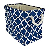 DII Collapsible Polyester Storage Basket or Bin with Durable Cotton Handles, Home Organizer Solution for Office, Bedroom, Closet, Toys, & Laundry (Large - 17.75x12x15'), Navy Lattice
