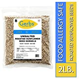 Gerbs Unsalted Sunflower Seed Kernels - 2 LBS - Top 14 Food Allergy Free & NON GMO - Vegan, Keto Safe & Kosher - Dry Roasted Hulled Seeds Grown in USA
