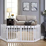 unipaws Freestanding Paw Deco Pet Gate, Foldable Assembly-Free Wooden Dog Gate, Step Over Fence Puppy Gate for Doorway, Stairs,White (20' Wx24 H,4 Panels)