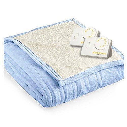 Biddeford 2064-9032138-535 MicroPlush Sherpa Electric Heated Blanket King Cloud Blue