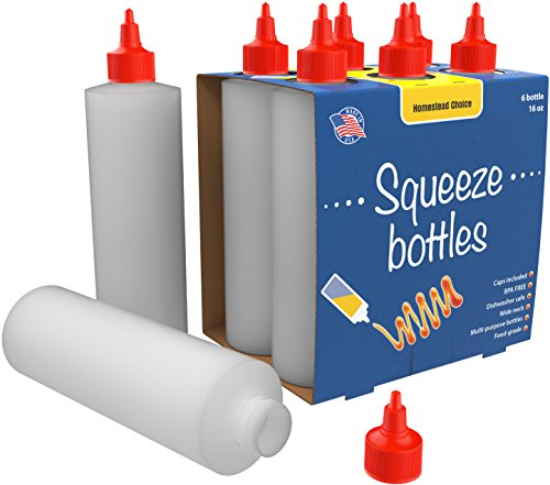 6-pack Plastic Squeeze Condiment Bottles 16-Ounce With Red Twist-Cap Set of 6 16-oz (Perfect For Syrup, Sauce, Ketchup, BBQ, Condiments, Dressing, Arts and Craft, Workshop, Storage, and More)