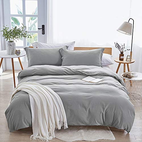 Dreaming-Wapiti-Duvet-Cover100-Washed-Microfiber-3pcs-Bedding-Duvet-Cover-SetSolid-Color-Soft-and-Breathable-with-Zipper-Closure-Corner-Ties-Light-Gray-King