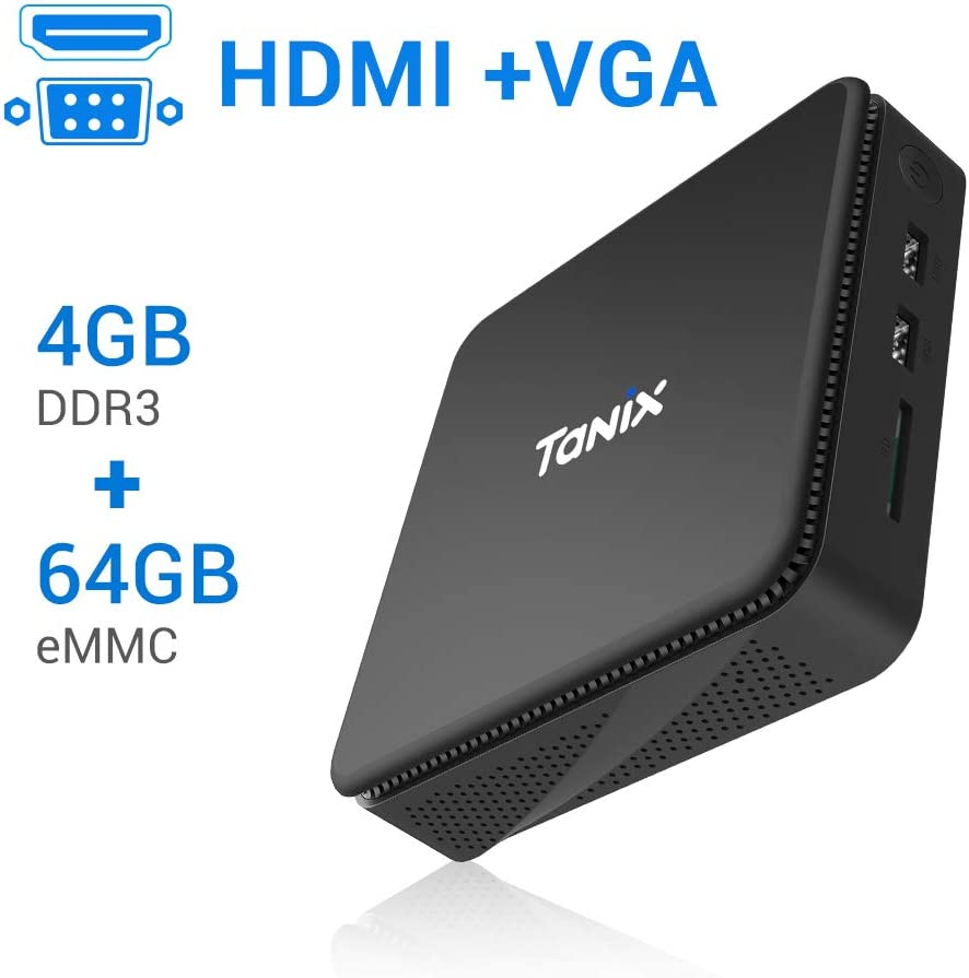 Mini PC Windows 10 Pro【4 Go de RAM DDR3 + 64 Go de ROM eMMC】 Intel Atom x5-Z8350 1.92 GHZ TaNix Mini Ordinateur sans Ventilateur,Pas de Bruit/HDMI VGA /1000Mbps LAN / 2.4G+5.8G Dual WiFi