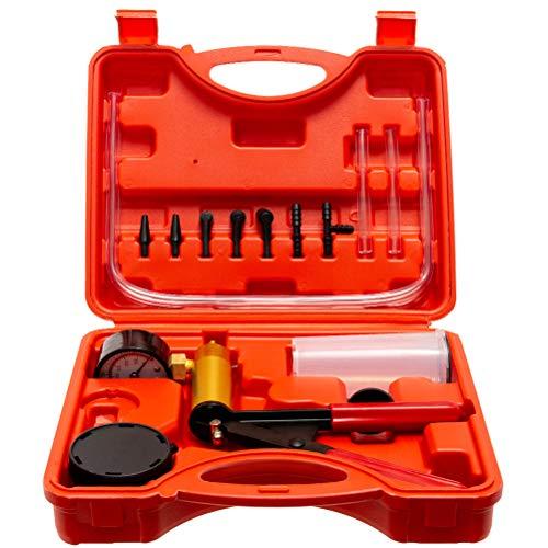 TRUSHOW Hand Held Vacuum Pump Tester Set Vacuum Gauge & Brake Bleeder Kit Pressure Pump Kit for Automotive with Adapters