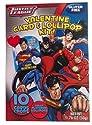 Justice League Valentine Card & Lollipop Kit - 10 Cards & Pops