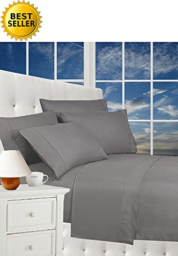 Luxurious Bed Sheets Celine Linen 1800 Thread Count Egyptian Quality Wrinkle Free 4-Piece Sheet Set with Deep Pockets 100% Hypoallergenic, Queen Gray