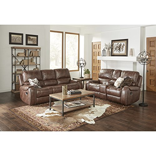 Roundhill Furniture LRH498SL Achern Brown Leather-Air Nailhead Manual Reclining Sofa and Loveseat with Storage Console and USB Port