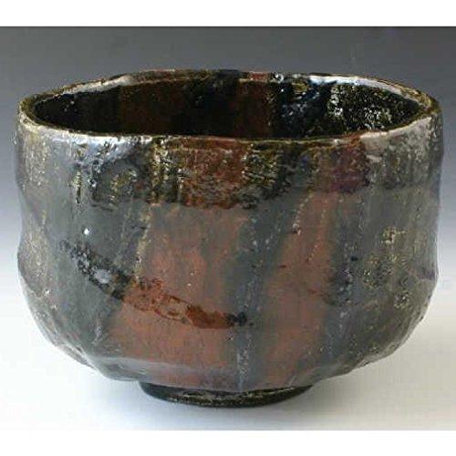 Kiyomizu-kyo yaki ware. Japanese Matcha Kuro raku chawan teabowl kakuyo with paper box. Ceramic. kymz-TYK756