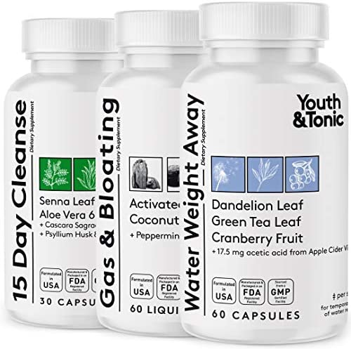 3pk Water Weight & Waste Loss & Belly Bloat to Reduce Fast Waist Line & Gas Bloating   Body Cleanser Combo for Weight Control   Colon Cleanse Leg & Ankle Swelling Relief Charcoal Detox for Men & Women 1