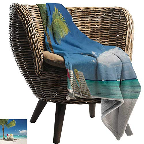 ZSUO Custom Blanket 30'x50' Inch Seaside,Relaxing Scene on Remote Beach with Palm Tree,Chairs and Boats Panoramic Picture,Blue Green Super Soft Faux Fur Plush Decorative Blanket