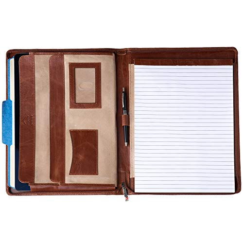Alpine Swiss Genuine Leather Writing Pad Portfolio Business Case for Left & Right Handed Use with Tablet Sleeve Brown