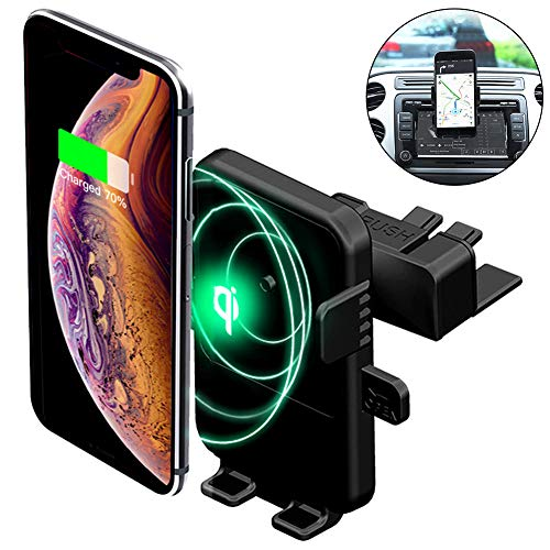 Wireless Car Charger,CD Slot Universal Car Phone Mount,[One Hand Operation]Wireless Charging Phone Mount for iPhone 8 Plus/X/XR/XS Max,Samsung Galaxy Note9/S9/S8[All Qi-Enable][Fits Most Car CD Slots]