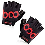 BOODUN Cycling Gloves with Shock-absorbing Foam Pad Breathable Half Finger Bicycle Riding Gloves Bike Gloves B-001, Black with Red Logo, X-Large